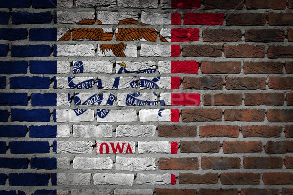 темно кирпичная стена Айова текстуры флаг окрашенный Сток-фото © michaklootwijk