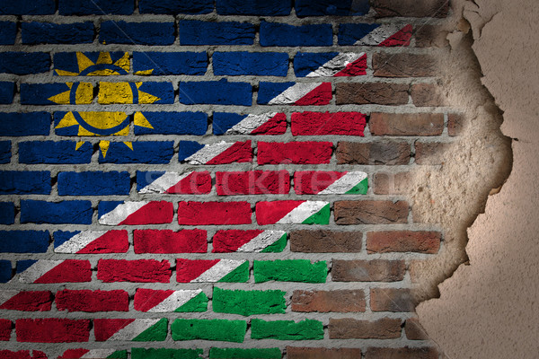 Sötét téglafal tapasz Namíbia textúra zászló Stock fotó © michaklootwijk