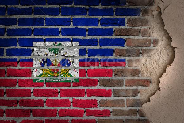 暗い レンガの壁 石膏 ハイチ テクスチャ フラグ ストックフォト © michaklootwijk