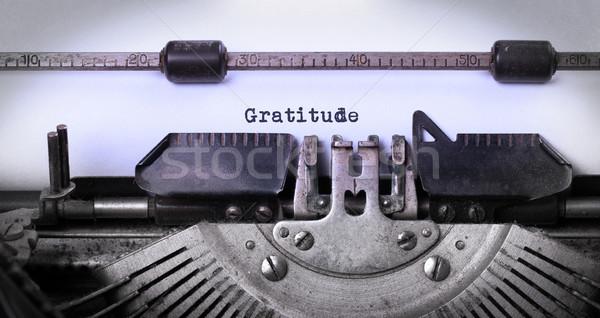 Vintage máquina de escribir primer plano edad Rusty gratitud Foto stock © michaklootwijk