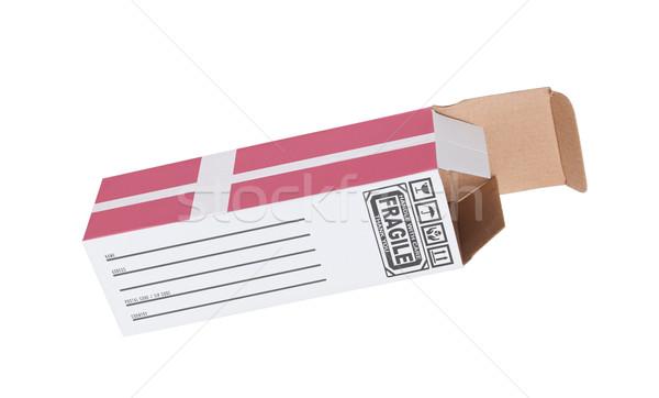 Export termék Dánia kinyitott papír doboz Stock fotó © michaklootwijk
