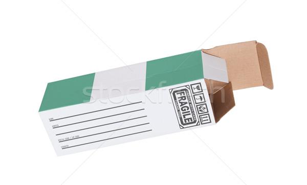 Export termék Nigéria kinyitott papír doboz Stock fotó © michaklootwijk