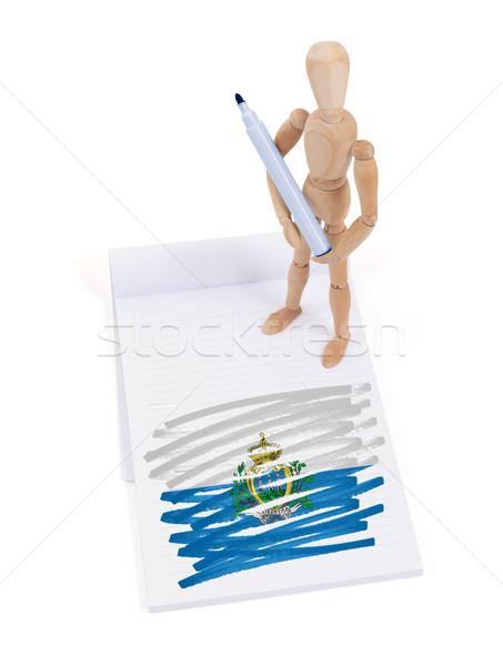 Fából készült próbababa rajz San Marino zászló papír Stock fotó © michaklootwijk