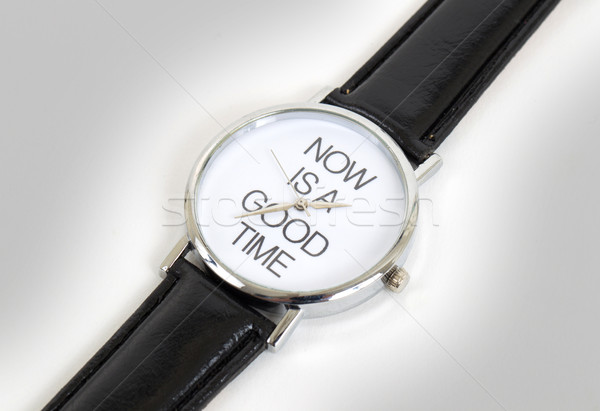 Wrist watch with leather wristlet isolated Stock photo © michaklootwijk