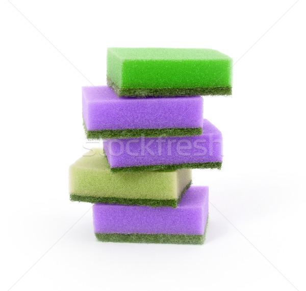 Foto stock: Esponja · isolado · branco · espaço · verde