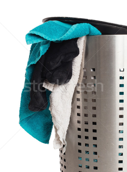 Dirty laundry in a metal basket Stock photo © michaklootwijk