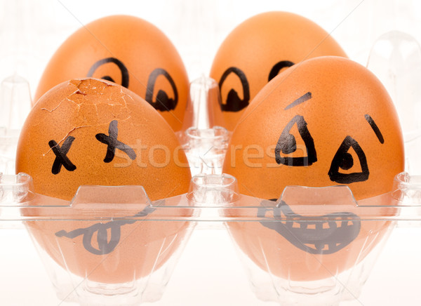 Scared egg looking at it's dead buddy Stock photo © michaklootwijk
