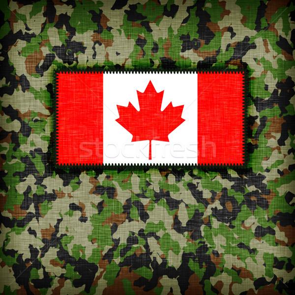 Kamuflaż uniform Kanada banderą tekstury streszczenie Zdjęcia stock © michaklootwijk