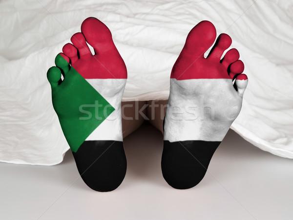 Láb zászló alszik halál Szudán felirat Stock fotó © michaklootwijk