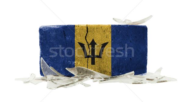 Foto stock: Ladrillo · vidrios · rotos · violencia · bandera · Barbados · pared