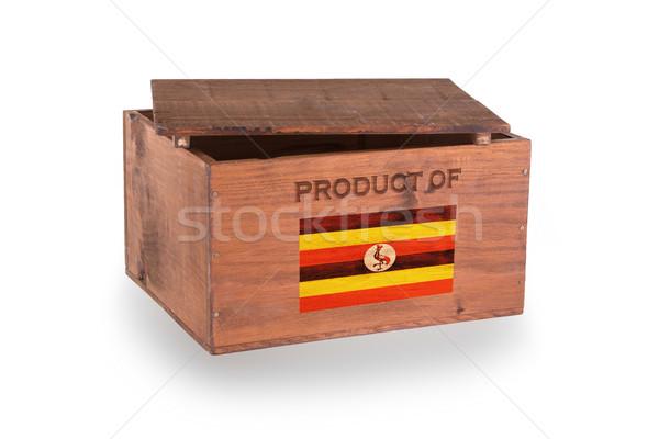 Stock fotó: Fából · készült · láda · izolált · fehér · termék · Uganda