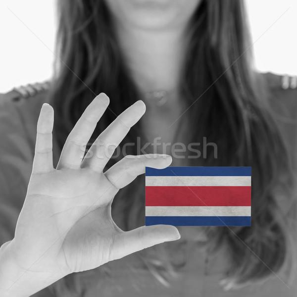 Vrouw tonen visitekaartje zwart wit Costa Rica ruimte Stockfoto © michaklootwijk