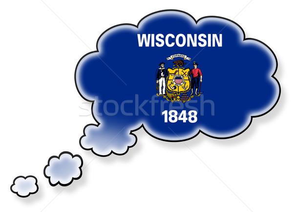 Vlag wolk geïsoleerd witte Wisconsin kunst Stockfoto © michaklootwijk