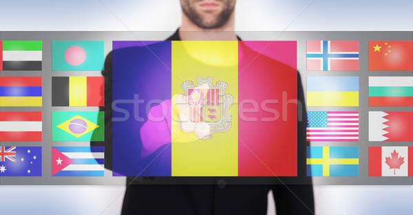 Hand voortvarend interface kiezen taal Stockfoto © michaklootwijk