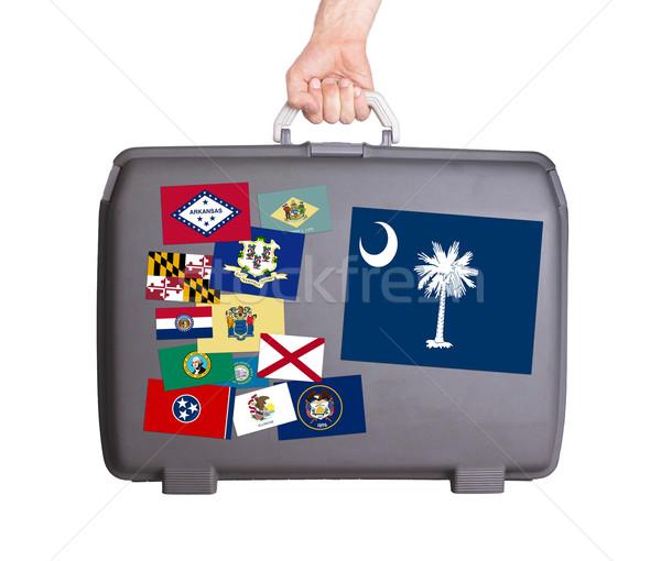 Használt műanyag bőrönd foltok matricák Dél-Karolina Stock fotó © michaklootwijk