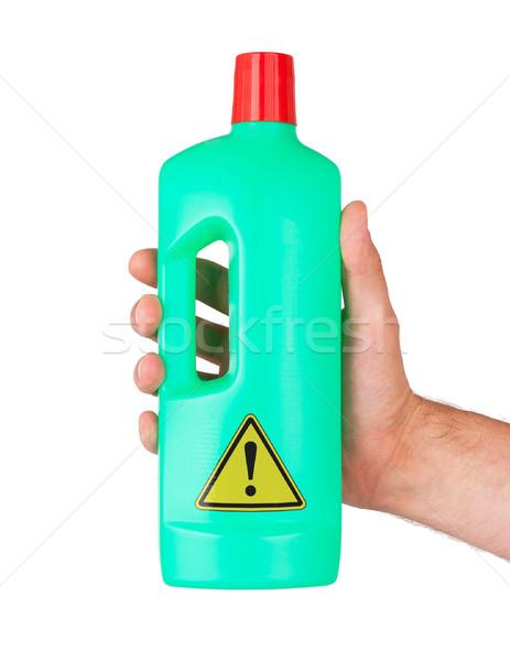 Plastic fles gevaar geïsoleerd witte hand Stockfoto © michaklootwijk