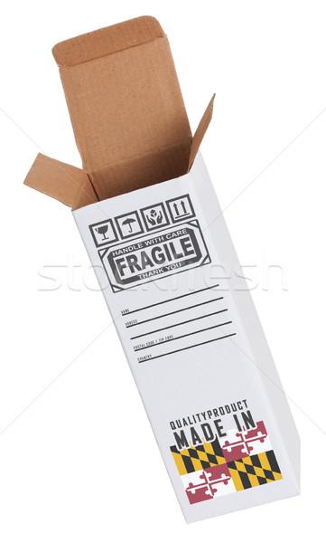 Export termék Maryland kinyitott papír doboz Stock fotó © michaklootwijk