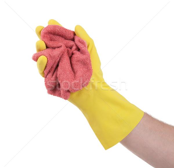 Mão borracha luva pronto limpeza água Foto stock © michaklootwijk