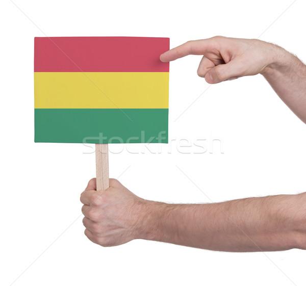 Kéz tart kicsi kártya zászló Bolívia Stock fotó © michaklootwijk
