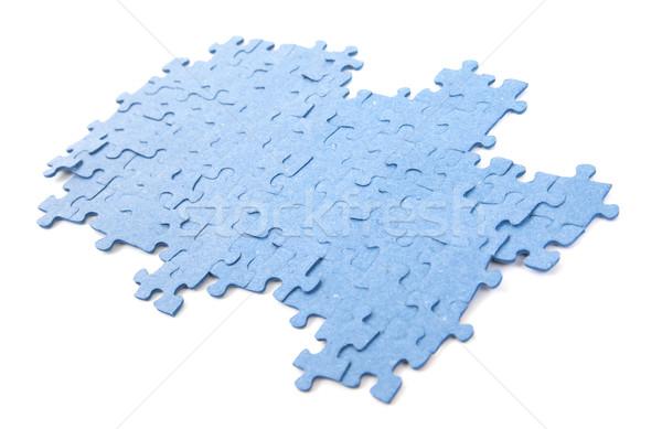 Mavi puzzle parçaları yalıtılmış kirli kullanılmış bilmece Stok fotoğraf © michaklootwijk