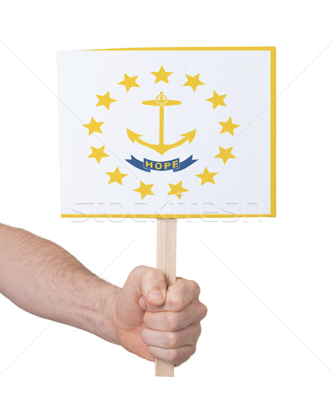 Hand holding small card - Flag of Rhode Island Stock photo © michaklootwijk