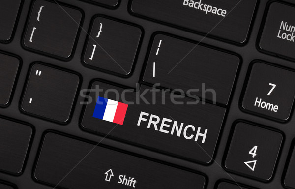 Stock photo: Enter button with flag France - Concept of language