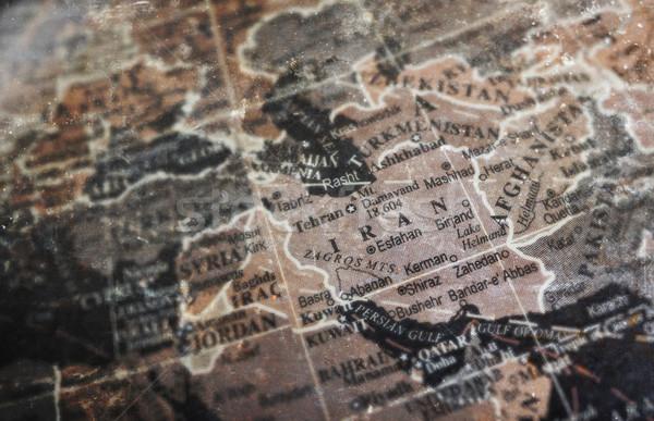 İran harita bağbozumu çatlamak kâğıt seçici odak Stok fotoğraf © michaklootwijk