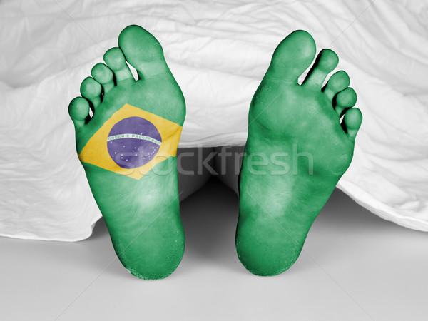 Trup biały arkusza banderą Brazylia kobieta Zdjęcia stock © michaklootwijk