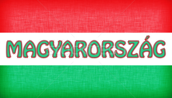 Flag of Hungary stitched with letters Stock photo © michaklootwijk