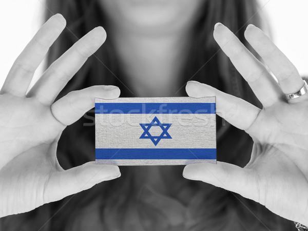 Stock fotó: Nő · mutat · névjegy · feketefehér · Izrael · űr