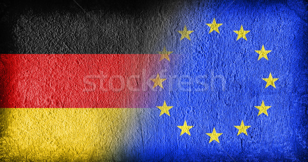 Németország EU zászlók festett repedt beton Stock fotó © michaklootwijk
