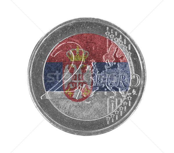 Stock fotó: Euro · érme · izolált · fehér · zászló · Szerbia