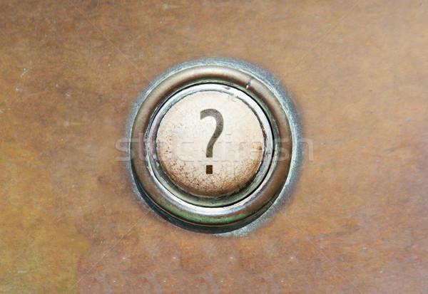 Vieux bouton grunge image rouge question Photo stock © michaklootwijk