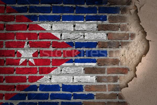 Sötét téglafal tapasz Kuba textúra zászló Stock fotó © michaklootwijk