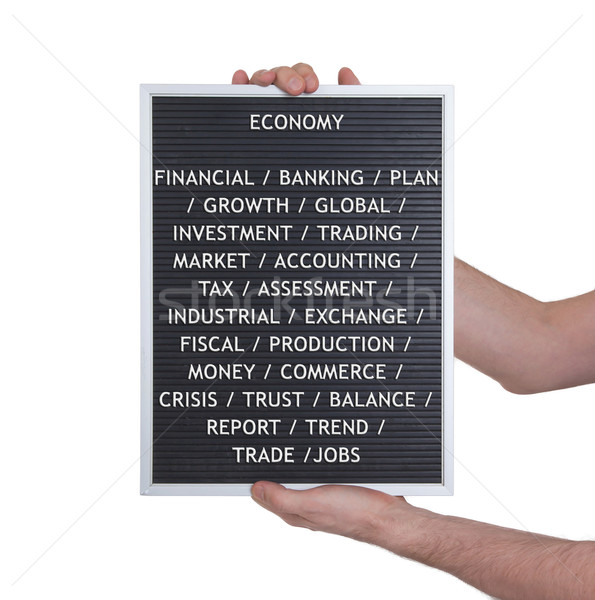 Gospodarki plastikowe litery starych menu pokładzie Zdjęcia stock © michaklootwijk