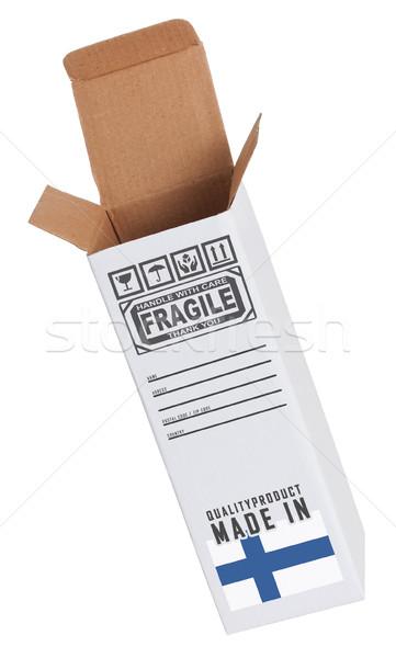 Exportar produto Finlândia papel caixa Foto stock © michaklootwijk