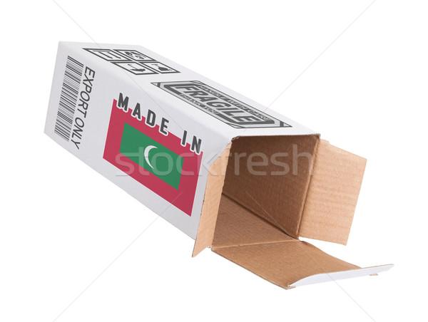 Export termék Maldív-szigetek kinyitott papír doboz Stock fotó © michaklootwijk