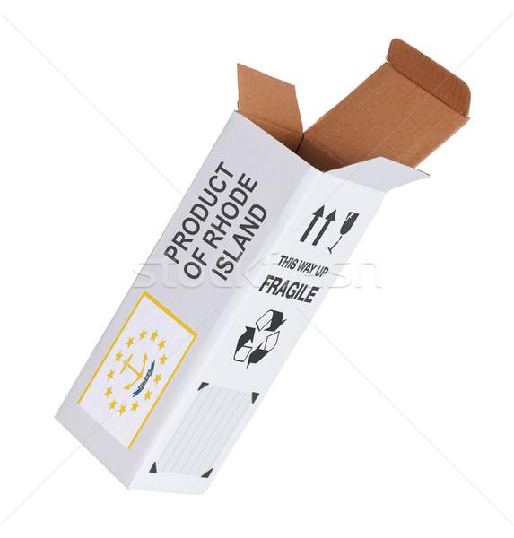 Exportar produto Rhode Island papel caixa Foto stock © michaklootwijk
