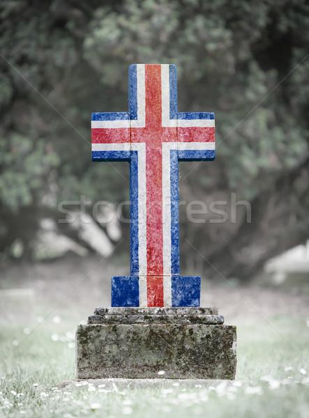 Lápide cemitério Islândia velho resistiu grama Foto stock © michaklootwijk