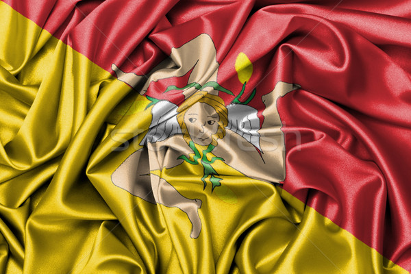 Satin flag - flag of Sicily Stock photo © michaklootwijk