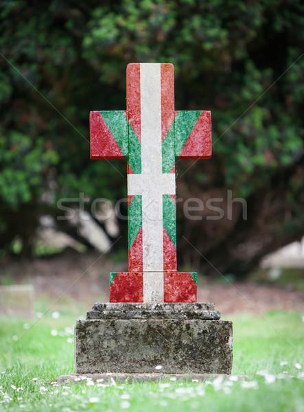 Stockfoto: Oude · grafsteen · begraafplaats · gras · achtergrond · frame