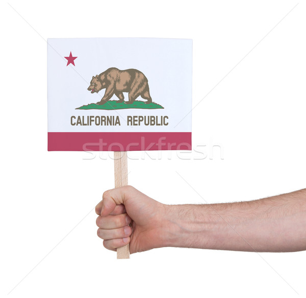 Hand holding small card - Flag of California Stock photo © michaklootwijk