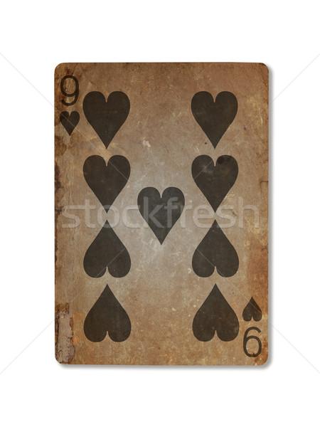 Oude spelen kaart negen harten geïsoleerd Stockfoto © michaklootwijk