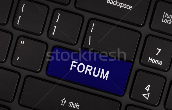 Bleu bouton forum clavier d'ordinateur portable affaires clavier Photo stock © michaklootwijk