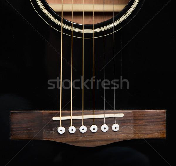 подробность акустический черный гитаре звук дыра Сток-фото © michaklootwijk