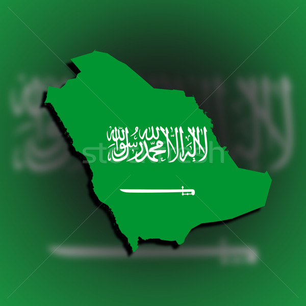Saudi arabia map filled with flag Stock photo © michaklootwijk