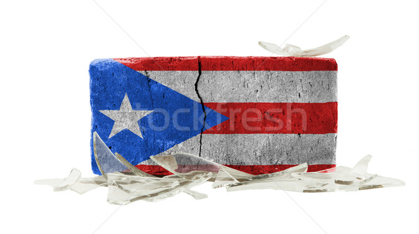 Stockfoto: Baksteen · gebroken · glas · geweld · vlag · Puerto · Rico · muur