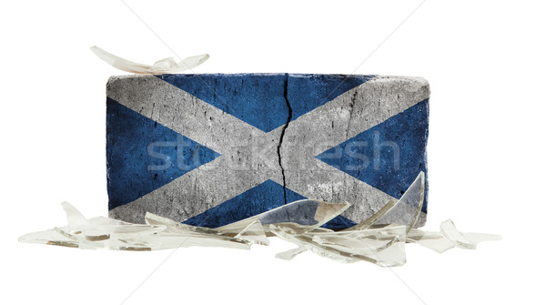 Stockfoto: Baksteen · gebroken · glas · geweld · vlag · Schotland · muur