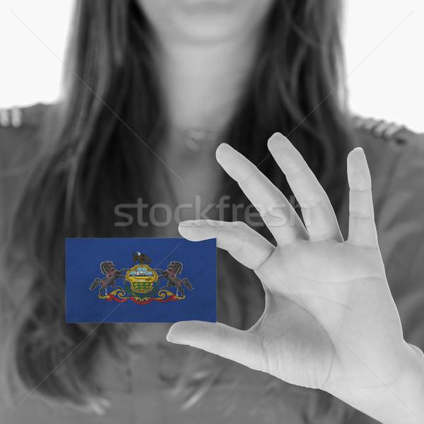 Vrouw tonen visitekaartje zwart wit Pennsylvania kantoor Stockfoto © michaklootwijk