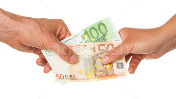 Man giving 150 euro to a woman Stock photo © michaklootwijk